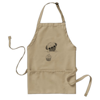 Pug Apron Cute Funny Pug Cupcake Gift for Baker