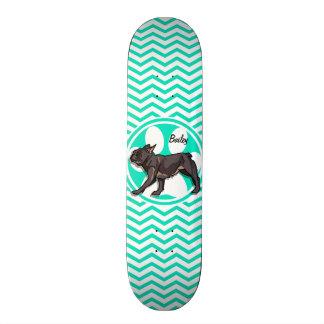 Pug; Aqua Green Chevron Custom Skateboard