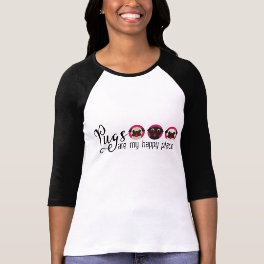 Pug Are My Happy Place Fawn Black White Pugs T-Shirt