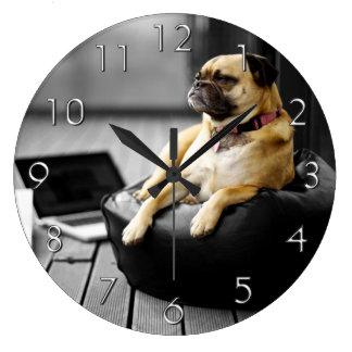 Pug at Rest Large Clock