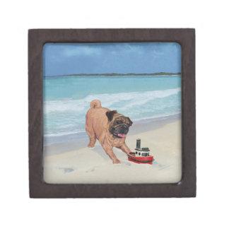 Pug at the Beach Premium Jewelry Box