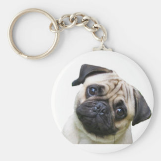 pug basic round button key ring