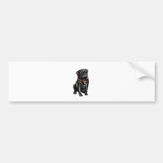 Pug - Black with red collar and heart