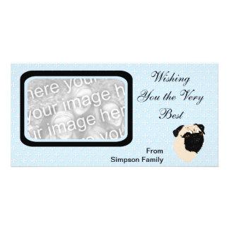 Pug - Blue w White Diamond Design Photo Cards