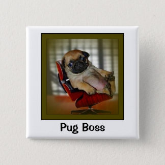 Pug Boss 15 Cm Square Badge