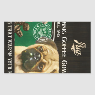 Pug Brand – Organic Coffee Company Rectangular Sticker