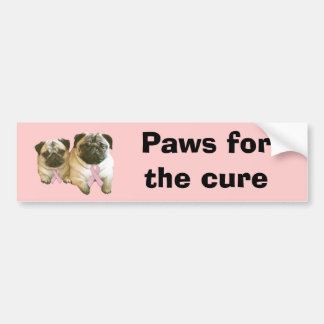 Pug  Breast Cancer Bumper Sticker