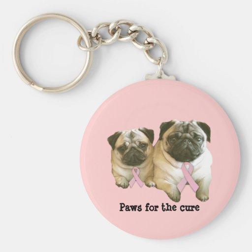 Pug  Breast Cancer Keychain