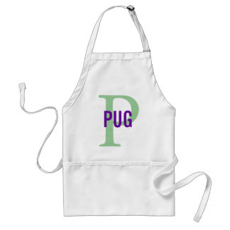 Pug Breed Monogram Design Standard Apron