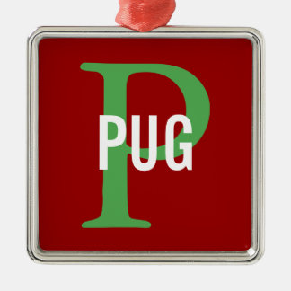 Pug Breed Monogram Design Christmas Ornament