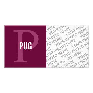 Pug Breed Monogram Design Photo Card