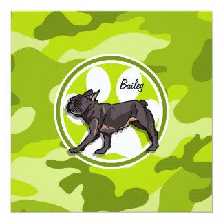 Pug; bright green camo, camouflage custom invites