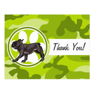 Pug; bright green camo, camouflage post cards
