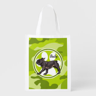 Pug; bright green camo, camouflage reusable grocery bag