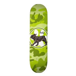 Pug; bright green camo, camouflage skateboards
