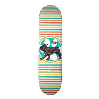 Pug; Bright Rainbow Stripes Skateboard