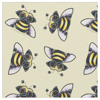 Pug Bumble Bees Butter White Fabric