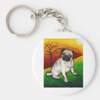 Pug Buttercup Basic Round Button Key Ring