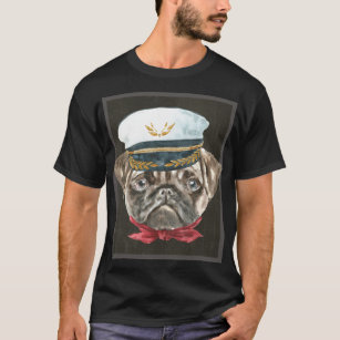 dbcf5307935 Pug Captain Hat Red Scarf Dogs In Clothes T-Shirt