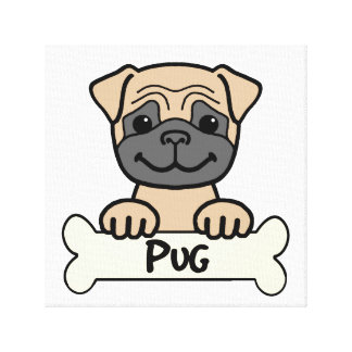 Pug Cartoon Gallery Wrapped Canvas