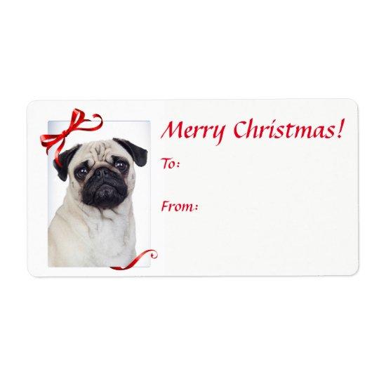 Pug Christmas Gift Stickers