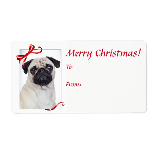 Pug Christmas Gift Stickers Shipping Label