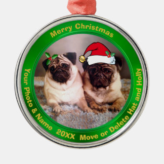 Pug Christmas Tree Ornaments Your Photo or Our Pug