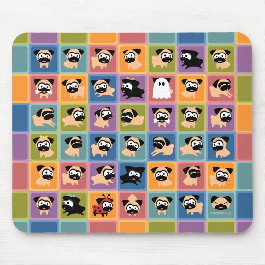 Pug Colour Square Mousepad