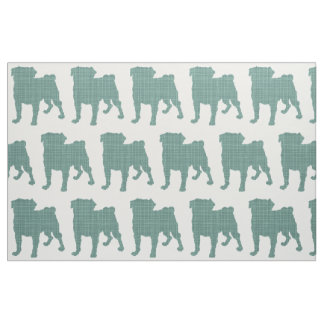 Pug - Crosshatch Teal Fabric