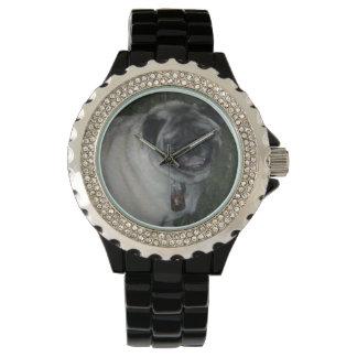 Pug-Custom Stainless Steel Black Watch
