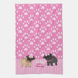 Pug Cuties Pink Stripes and Paws Tea Towel