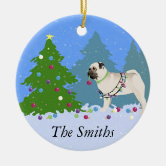 Pug decorating a Christmas Tree in the forest Christmas Ornament