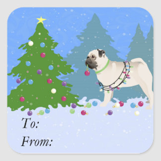 Pug decorating a Christmas Tree in the forest Square Sticker