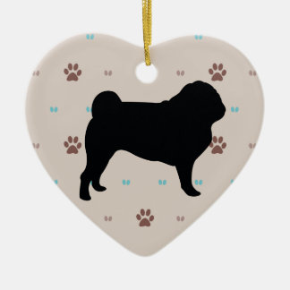 Pug Double-Sided Heart Ceramic Christmas Ornament