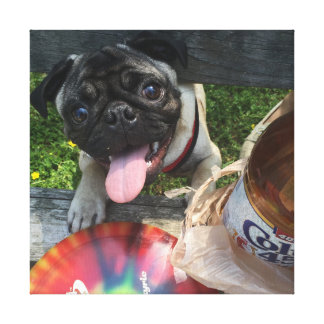 Pug, Discgolf, and 40 Canvas Print