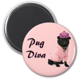 Pug Diva 6 Cm Round Magnet
