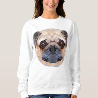 Pug Dog, Abstract Art, Women's Basic Sweatshirt