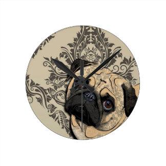 Pug Dog Abstract Pet Pattern Print Round Clock