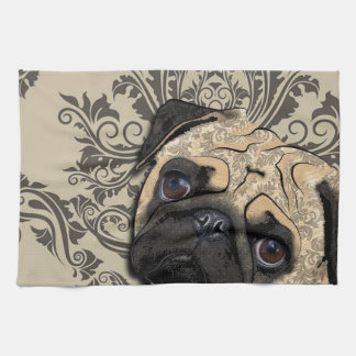 Pug Dog Abstract Pet Pattern Print Tea Towel