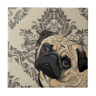 Pug Dog Abstract Pet Pattern Print Tile