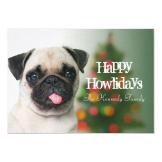 Pug dog against Christmas tree with bokeh Card