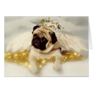 Pug Dog Angel Card