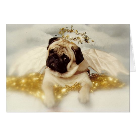 Pug Dog Angel Card