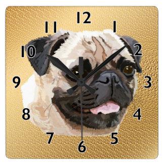 Pug Dog Art Square Wall Clock