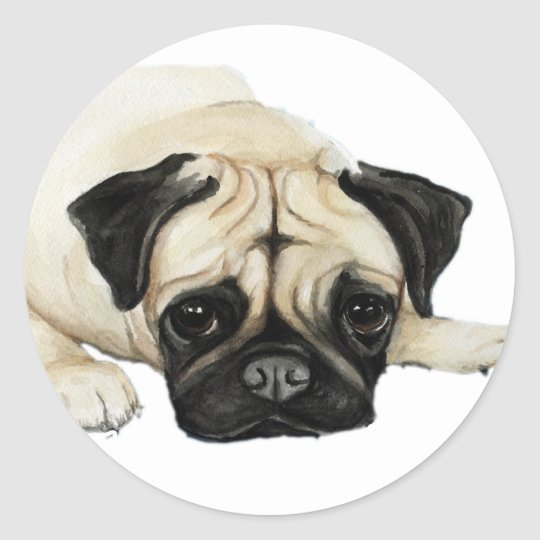 """Pug"" Dog Art Sticker"