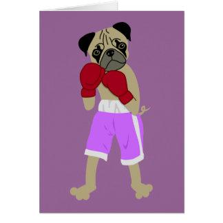 Pug Dog Boxing Gloves Boxer Greeting Card