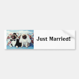 Pug Dog Bride & Groom Wedding Bumper Sticker