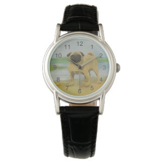 Pug dog by the river art watch