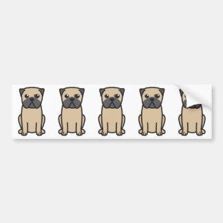 Pug Dog Cartoon Bumper Sticker
