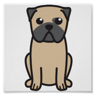 Pug Dog Cartoon Poster